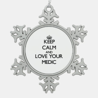 Keep Calm and Love your Medic Snowflake Pewter Christmas Ornament