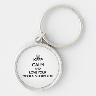 Keep Calm and Love your Minerals Surveyor Key Chain