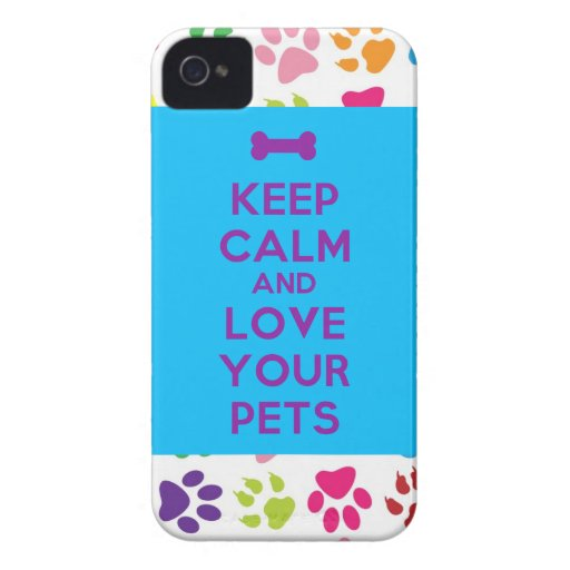 """""""Keep Calm and Love your Pets"""" iPhone 4 case"""
