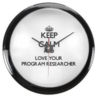 Keep Calm and Love your Program Researcher Aquarium Clock