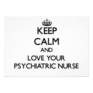 Keep Calm and Love your Psychiatric Nurse Custom Announcement