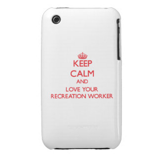 Keep Calm and Love your Recreation Worker iPhone 3 Cover
