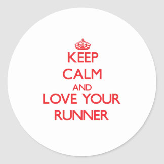 Keep Calm and Love your Runner Round Stickers
