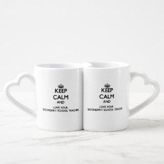 Keep Calm and Love your Secondary School Teacher Couples' Coffee Mug Set