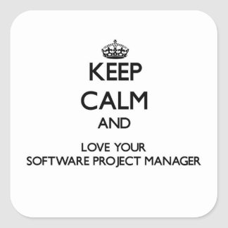 Keep Calm and Love your Software Project Manager Square Sticker