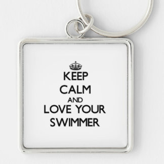 Keep Calm and Love your Swimmer Silver-Colored Square Keychain