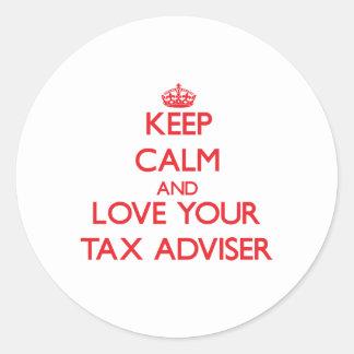 Keep Calm and Love your Tax Adviser Round Sticker