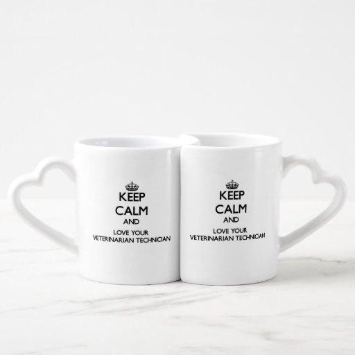Keep Calm and Love your Veterinarian Technician Lovers Mug Set