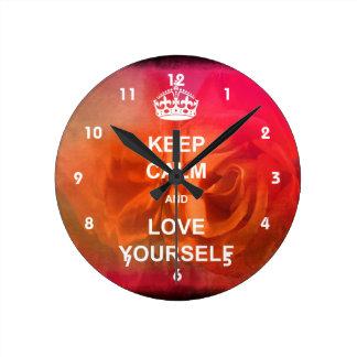 Keep calm and love yourself wallclocks