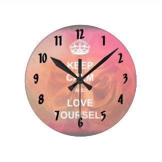 Keep calm and love yourself clock
