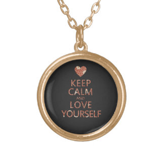 Keep Calm and Love Yourself Round Pendant Necklace