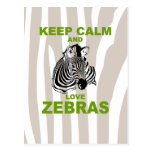 Keep Calm and Love Zebras Unique Fun Print Post Cards