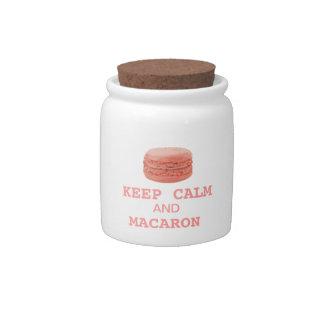 keep calm and macaron candy jar