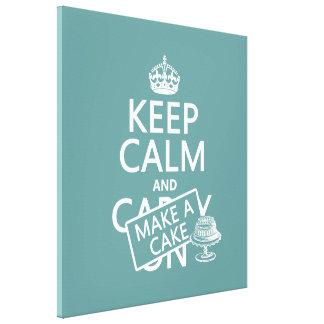 Keep Calm and Make A Cake (customize colors) Canvas Print