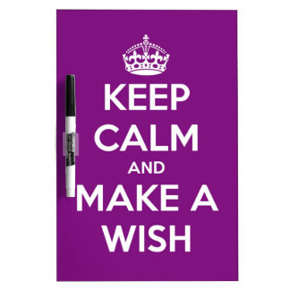 Keep Calm and Make A Wish Girly Purple Dry-Erase Board