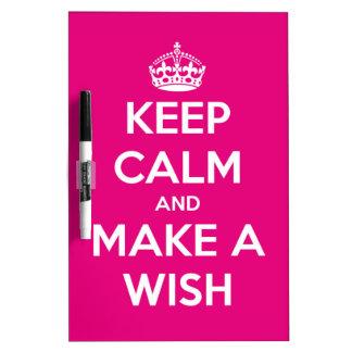 Keep Calm and Make A Wish Hot Pink Dry-Erase Board