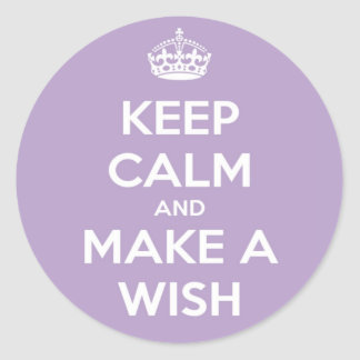 Keep Calm and Make A Wish Lavender Classic Round Sticker