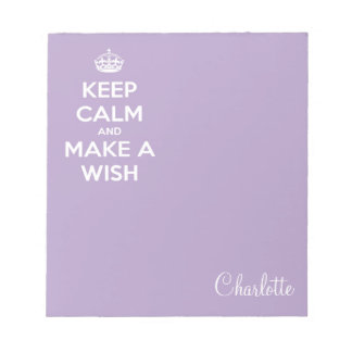 Keep Calm and Make A Wish Lavender Notepad