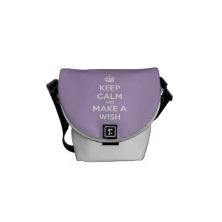 Keep Calm and Make a Wish Lavender Personalized Messenger Bag