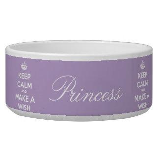 Keep Calm and Make A Wish Lavender Dog Food Bowls