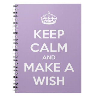Keep Calm and Make A Wish Lavender Spiral Notebook