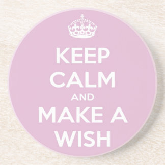 Keep Calm and Make a Wish Pink Drink Coaster