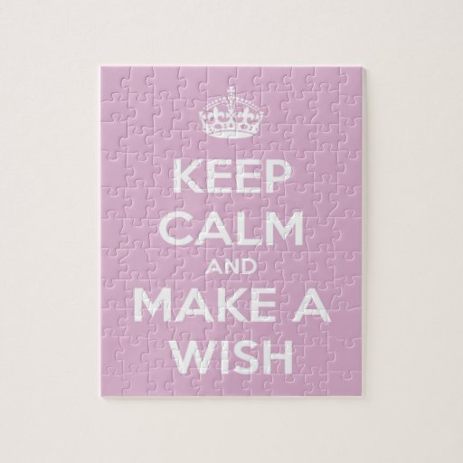 Keep Calm and Make A Wish Pink Jigsaw Puzzles
