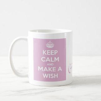 Keep Calm and Make A Wish Pink Coffee Mugs