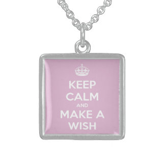 Keep Calm and Make a Wish Pink Square Pendant Necklace