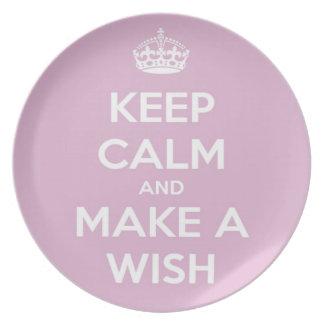Keep Calm and Make A Wish Pink Plate