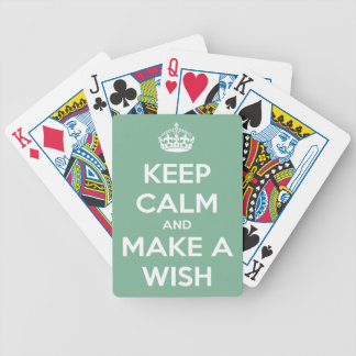 Keep Calm and Make a Wish Soft Teal Bicycle Playing Cards