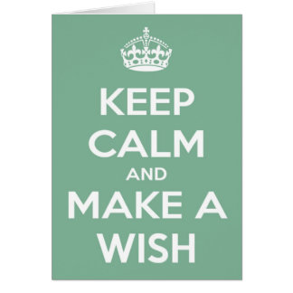 Keep Calm and Make A Wish Soft Teal Greeting Cards