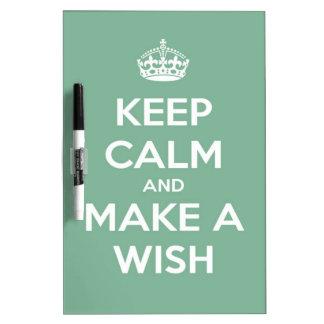 Keep Calm and Make A Wish Soft Teal Dry-Erase Board