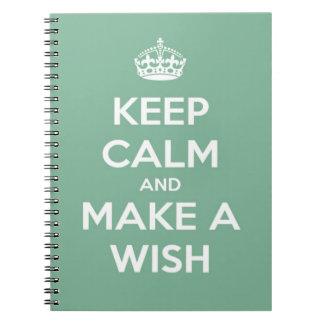 Keep Calm and Make A Wish Soft Teal Notebook