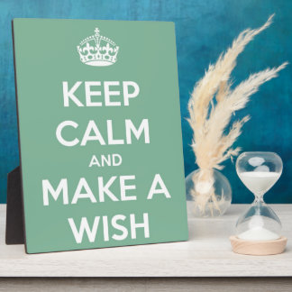 Keep Calm and Make A Wish Soft Teal Plaque
