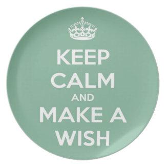 Keep Calm and Make A Wish Soft Teal Plate