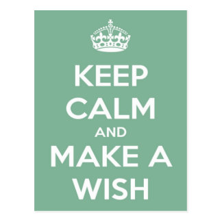 Keep Calm and Make a Wish Soft Teal Postcard
