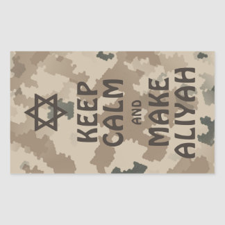 Keep Calm And Make Aliyah - Desert Rectangular Sticker