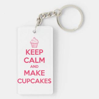 Keep calm and make cupcakes keychain