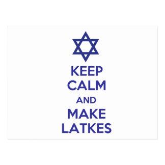 Keep Calm and Make Latkes Postcard
