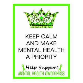KEEP CALM AND MAKE MENTAL HEALTH A PRIORITY POSTCARD