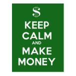 Keep Calm and Make Money Postcard