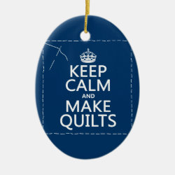Oval Ornament with Keep Calm and Make Quilts design