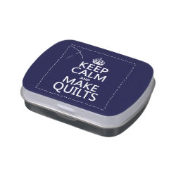 Rectangle Jelly Belly™ Candy Tin with Keep Calm and Make Quilts design