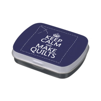 Keep Calm and Make Quilts (all colors) Jelly Belly Candy Tin