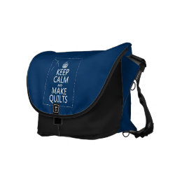 ickshaw Large Zero Messenger Bag with Keep Calm and Make Quilts design