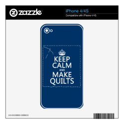 iPhone 4/4S Skin with Keep Calm and Make Quilts design