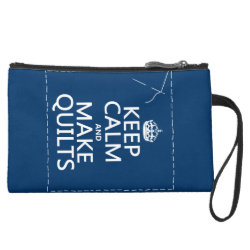 Sueded Mini Clutch with Keep Calm and Make Quilts design