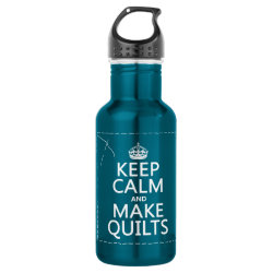 Water Bottle (24 oz) with Keep Calm and Make Quilts design