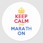 KEEP CALM and MARATH ON Classic Round Sticker